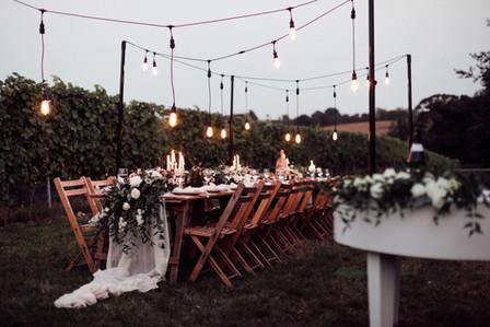 Outisde Reception at Vineyard Wedding