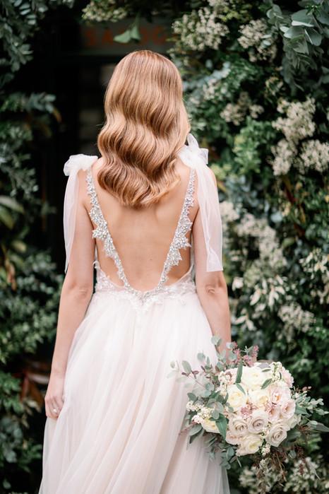 Bridal Dress and Hollywood Waves