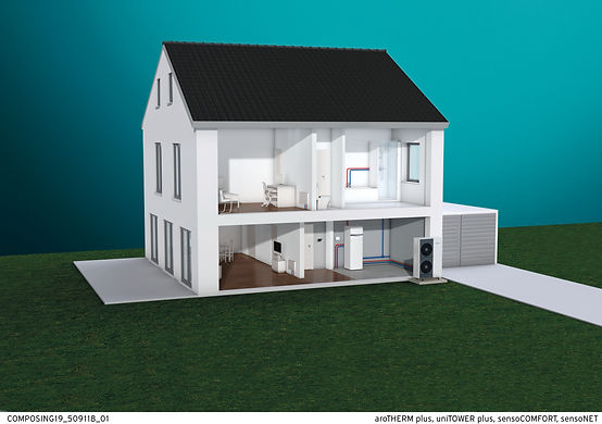Model of a house using air source heating - courtesy of Vaillant