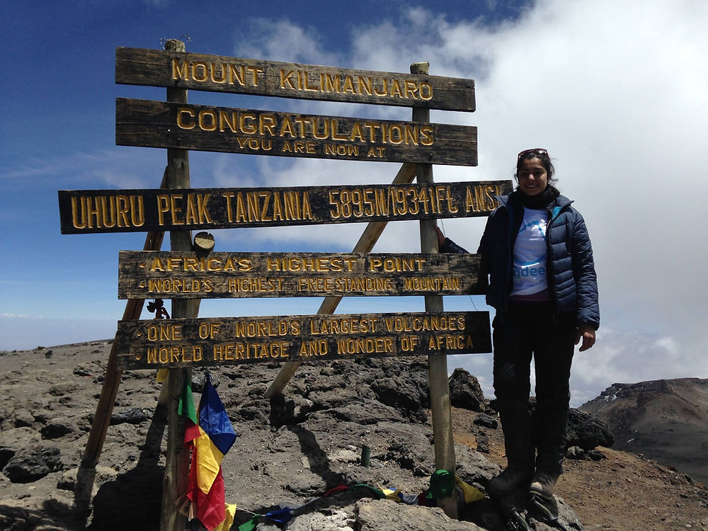 Alesha at the Summit (Uhuru Peak) of Kilimanjaro