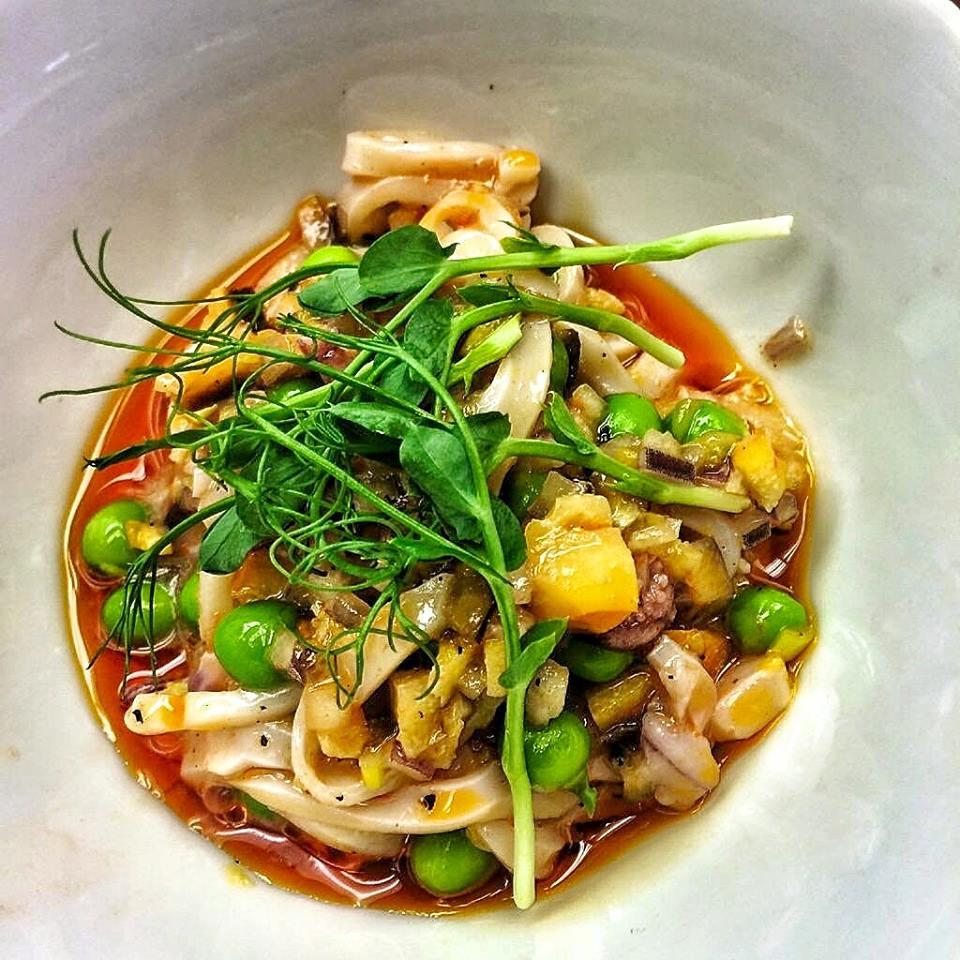 CEIA Squid escabeche w Charred orange peas harissa PT