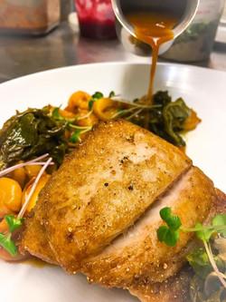 Brine Fluke stewed hominy  turnip greens  fried polenta  aromatic fish broth Turnip