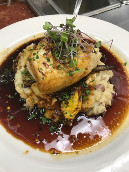 Dowie Farm Micro Purple Salad Blend at Surf Portsmouth NH by Chef Evan Pan Seared Halibut _ Garlic Mashed Potatoes _ Baby Carrots _ Bistro Ponzu Sauce