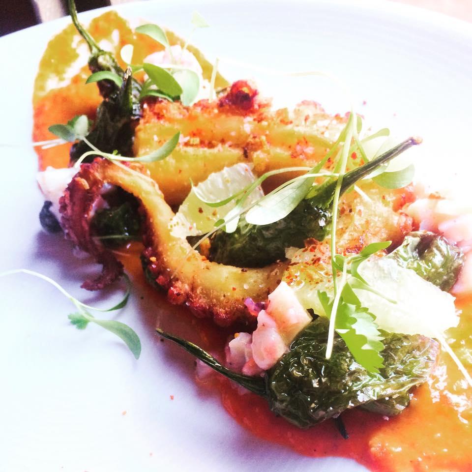 CEIA cilantro greens octopus wshishitos romesco lemon
