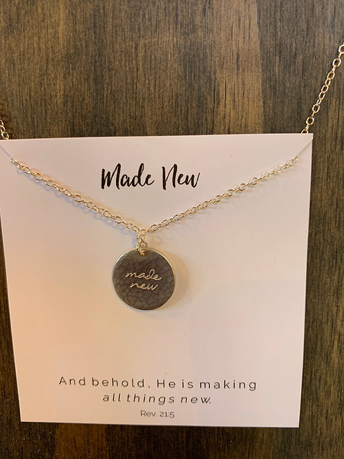 """Dear Heart - """"Made New"""" silver necklace"""
