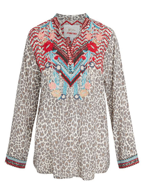 Johnny Was~Navila Animal Print Silk Blouse with Embroidery