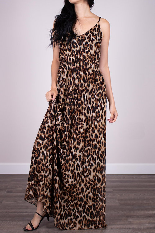 BEFORE YOU COLLECTION - Leopard Print Mesh Maxi Dress