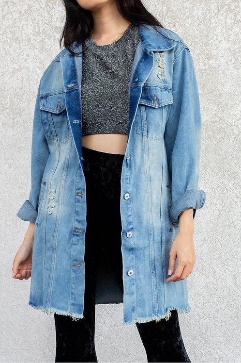 BEFORE YOU COLLECTION - Oversized Midi Length Denim Jacket