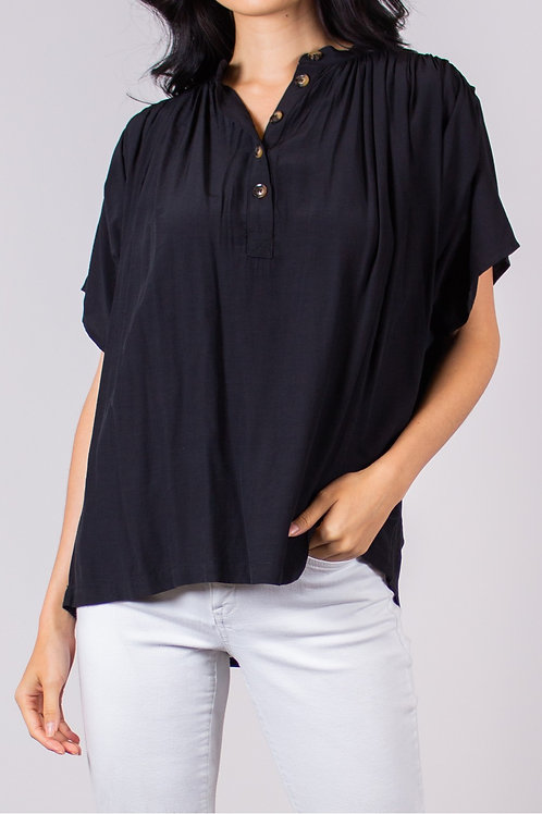 Ruched Woven Blouse with Buttons