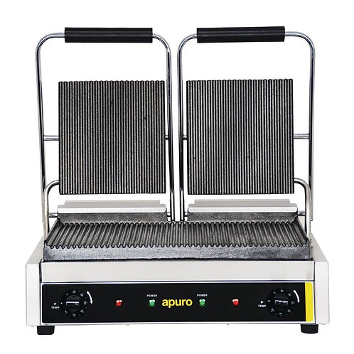Apuro Bistro Double Contact Grill - Ribbed Plates