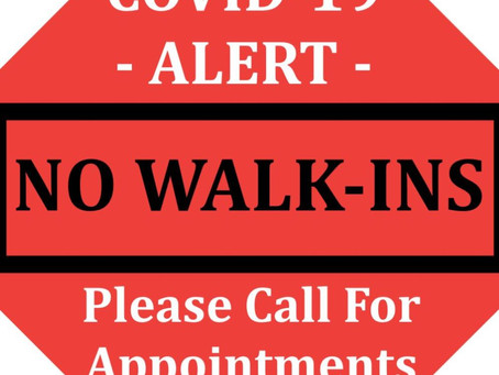 Covid-19 Update May! - By Appointment Only