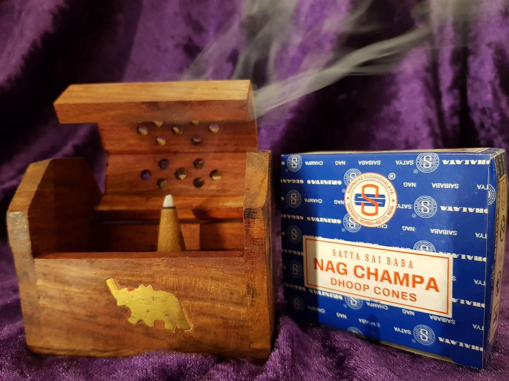Wooden Incense holder and box of Nag Champa cones