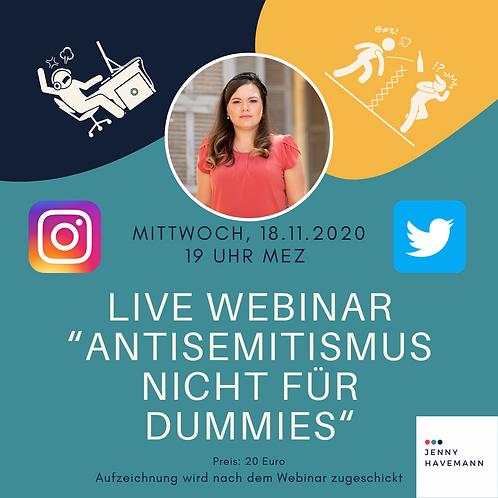"""Aufzeichnung Webinar """"Antisemitismus nicht für Dummies"""""""