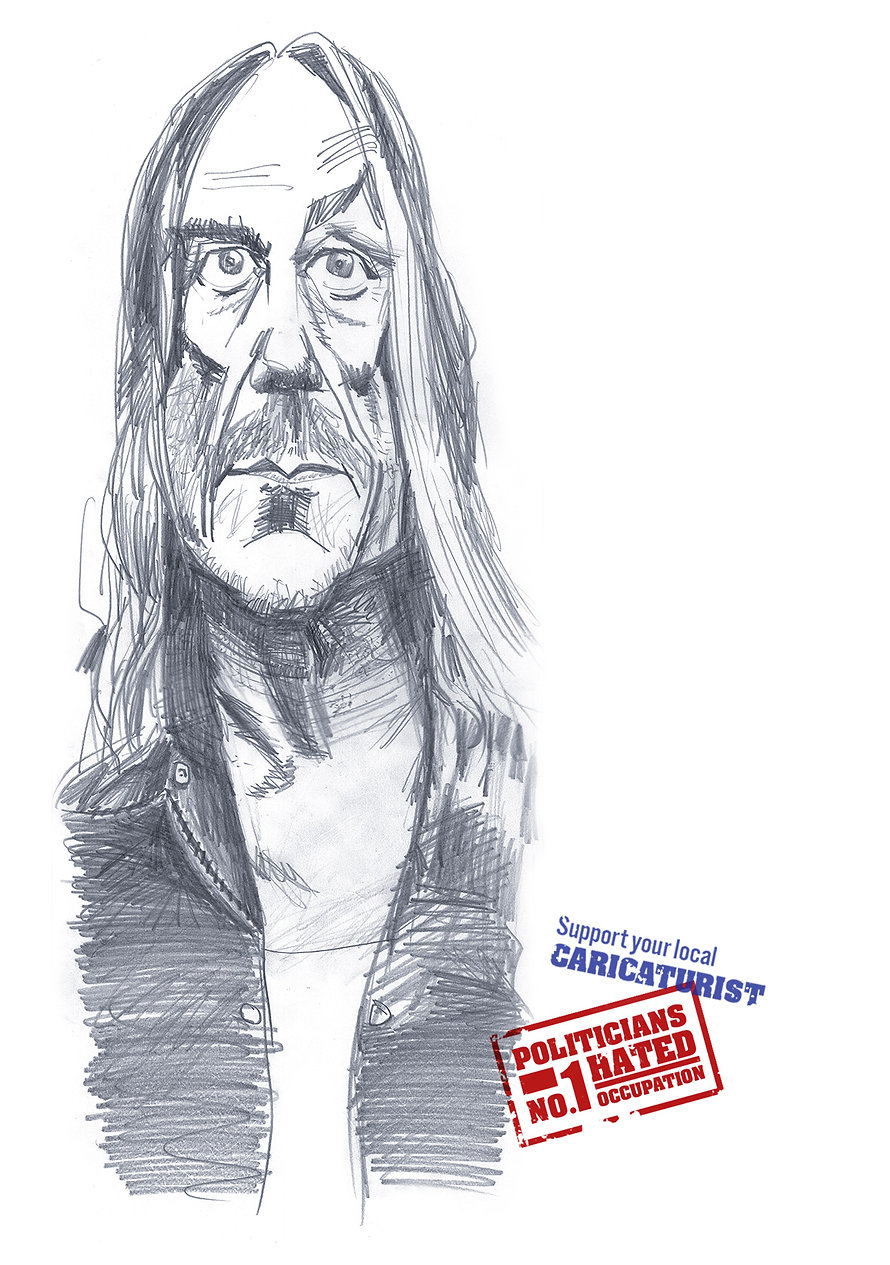 Caricature of Iggy Pop by Stephen Case, Hong Kong