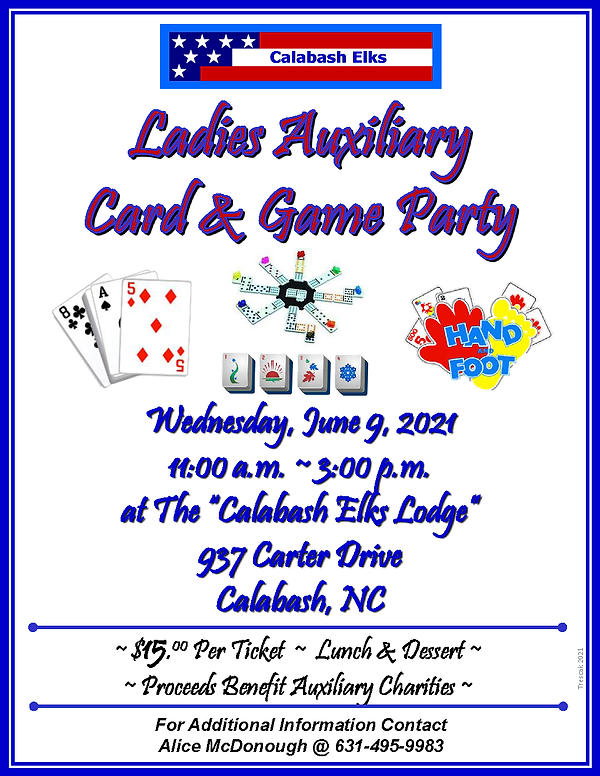 Just Flyer for JUNE 2021 Ladies AUX Card