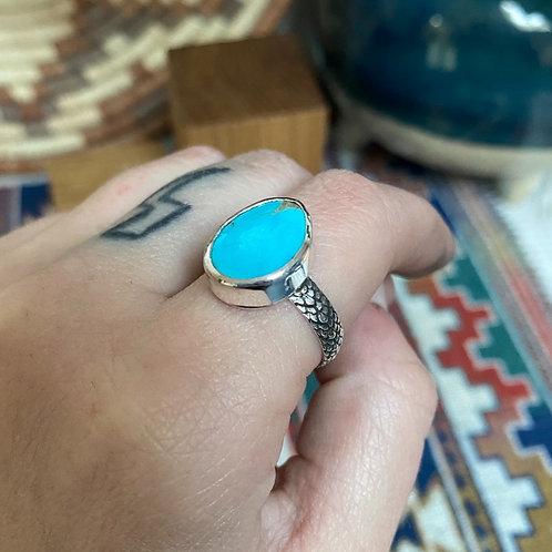 Kingman Turquoise Snakeskin Ring