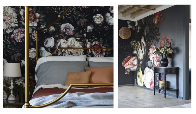 Trend Alert Gothic. Moody. Large Scale. Floral Wallpaper