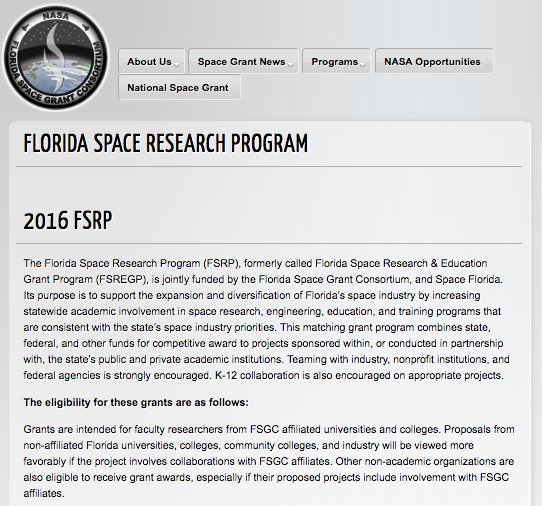 Florida Space Grant Awarded