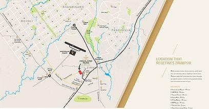 Location map of highland park flats in zirakpur 1bhk in zirakpur