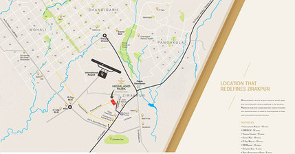 Location map of highland park flats in zirakpur 1bhk in zirakpur