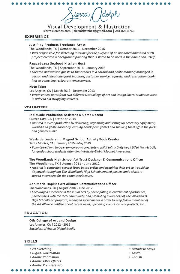 sierrasketches resume - Maya Animator Sample Resume