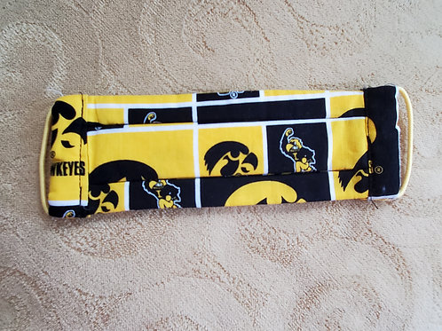 Iowa Hawkeye Mask with yellow bands