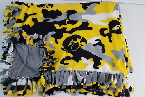 Iowa Camo Blanket with Yellow back