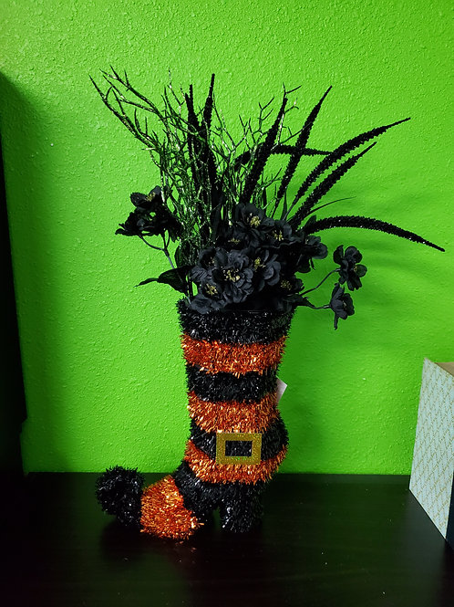 Black and Green Witch Boot Centerpiece