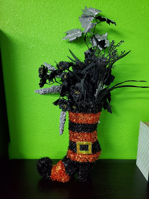 Black and Silver Witch Boot Centerpiece