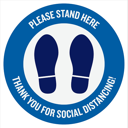 Floor Decal - Please Stand Here - Package