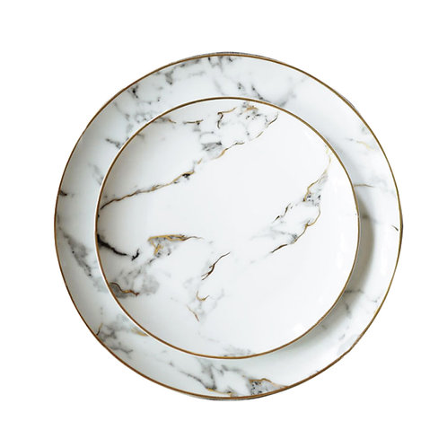 Gilt Edged Marble Plate Set