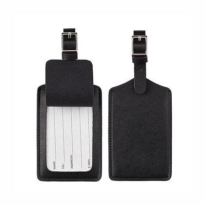 Black Leather Luggage Tag