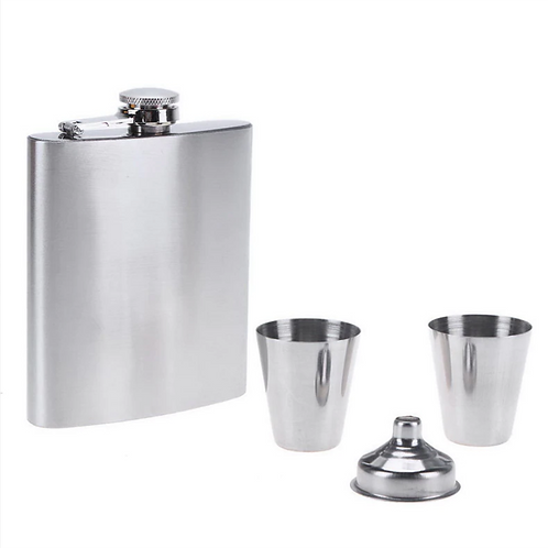 8oz Flask Gift Set with Two Shot Glasses and Funnel