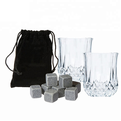 Whiskey Stones and 6 Oz Shot Glasses Gift Set