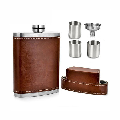 8oz Leather Hip Flask with Funnel