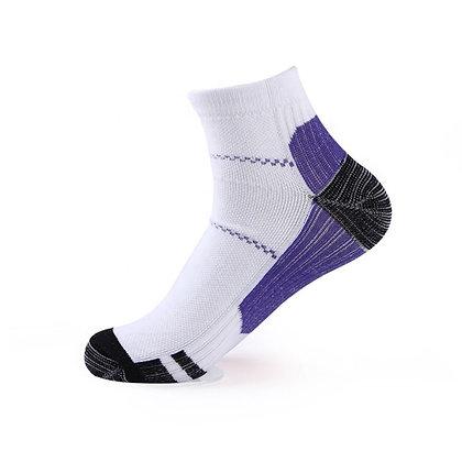 Tri-Block Athletic Ankle Socks in Purple
