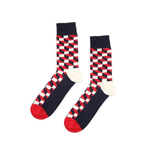 Red Black Block Socks