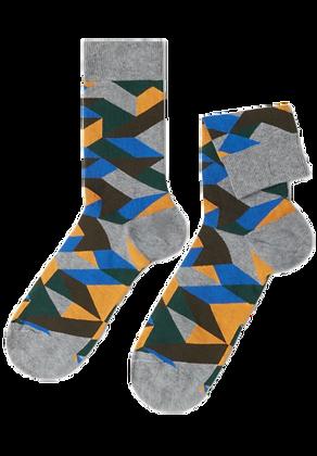 Grey Colorful Geometric Socks