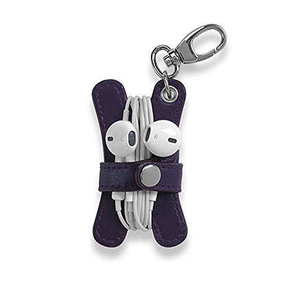 Leather Earbud Holder Key Chain