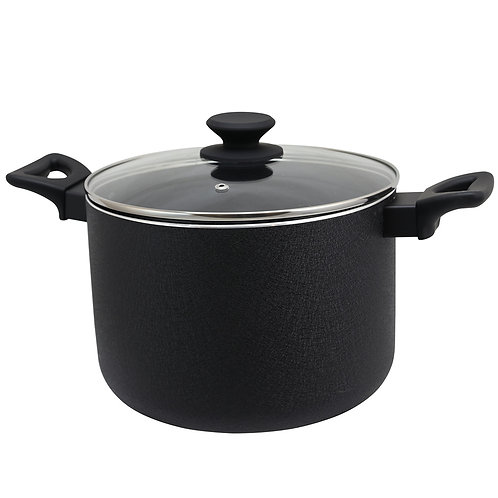 8 Quart Stock Pot with Lid in Black