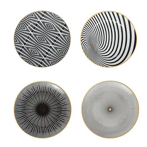 Ceramic Geometry Plate Set (Set of 4)