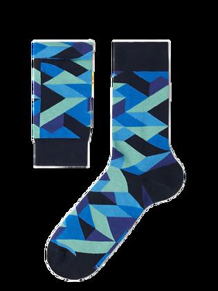 Blue Colorful Geometric Socks