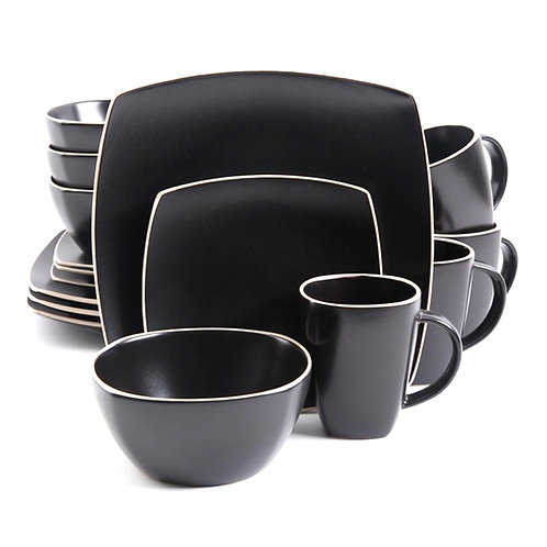 Gibson Soho Lounge Matte 16-Piece Dinnerware Set, Black