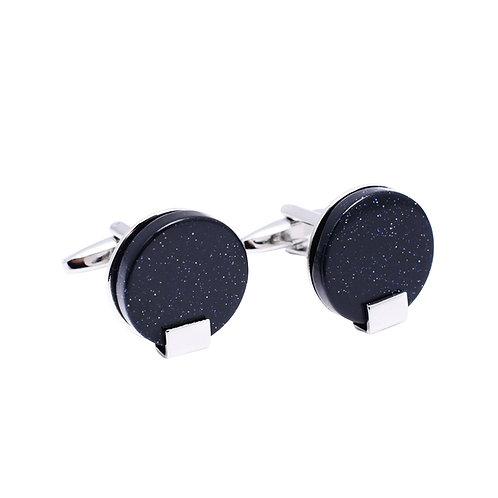 Black Speckled Brass Round Cuff Links