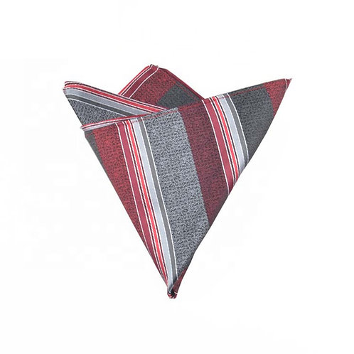 Grey Striped Pocket Square