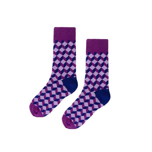 Purple Blocked Socks