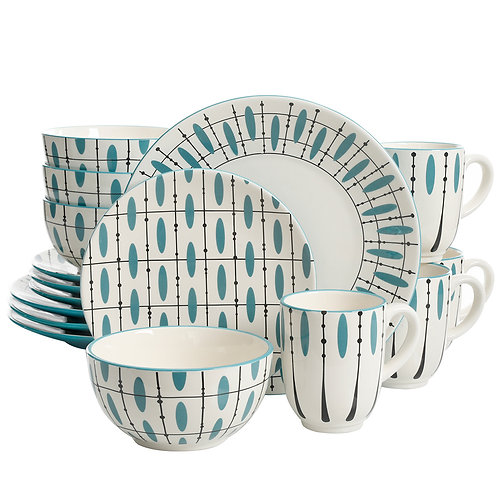 Laurie Gates Luminescent 16 Piece Dinnerware Set, Hand Painted