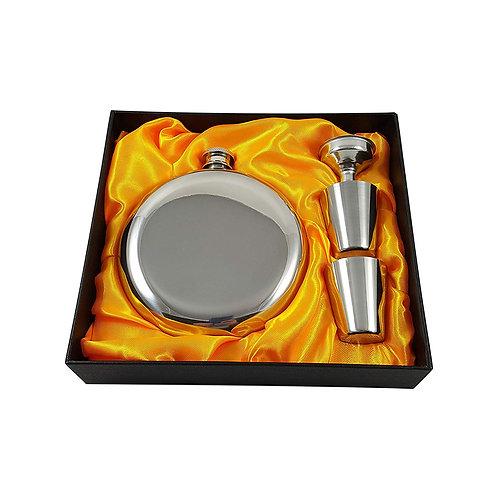5oz Round Stainless Steel Flask Set