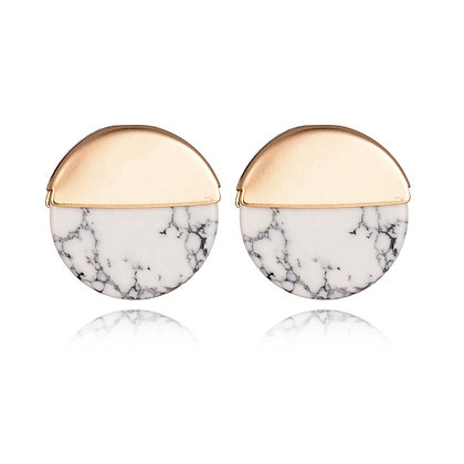 Gold Plated Round Semi Marble Studs