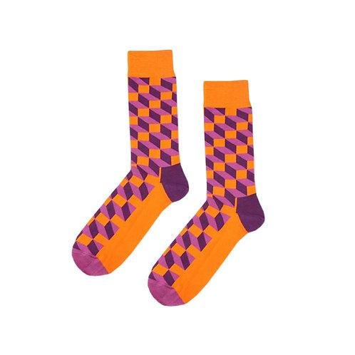 Orange Purple Blocked Socks